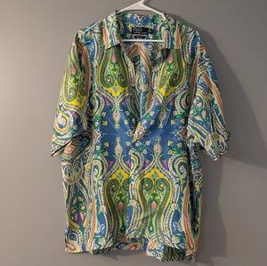 Vintage 100% Silk Polo Ralph Lauren Ugly Button Up